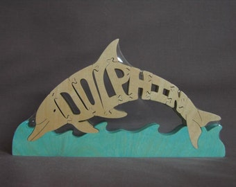 Dolphin Animal Puzzle Wooden Toy Hand  Cut with Scroll Saw