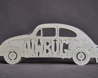 Vintage Volkswagen VW Love Bug Beetle Car Toy Wooden Hand Cut Puzzle