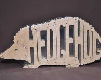 Hedgehog Hedge Hog Wooden Animal Puzzle Toy Hand Cut  with Scroll Saw