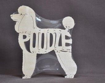 Choice of Toy Poodle Miniature or Standard Dog Puzzle Wooden Toy Hand Cut with Scroll Saw