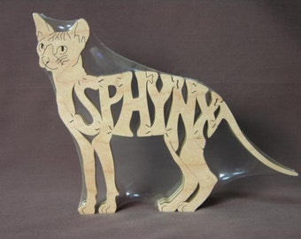 Sphynx Cat Puzzle  Wooden Toy Cut with Scroll Saw