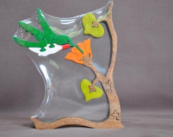 Hummingbird  Bird Wooden Animal Puzzle Toy  Cut  with Scroll Saw
