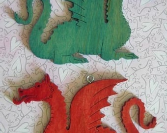 2 Wooden Fantasy Dragon Hand Cut Christmas Ornaments Red and Green