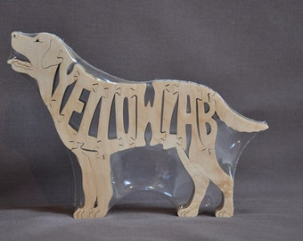 Yellow Lab Labrador  Dog Puzzle Wooden Toy Hand Cut with Scroll Saw
