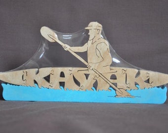 Canoe OR Kayak Boating Puzzle Wooden Toy Hand Cut with Scroll Saw