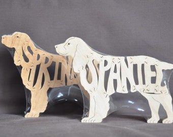 Springer Spaniel Dog Puzzle Wooden Toy Hand Cut with Scroll Saw