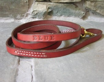 Custom Made 6 by 1/2 Inch  Leather Dog Lead FREE Name Personalized Leash