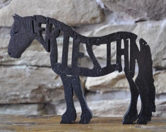 Friesian Horse Puzzle Wooden Toy Hand  Cut with Scroll Saw