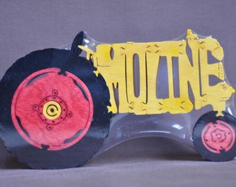Moline  Farm Tractor Wooden Toy Puzzle Hand Cut