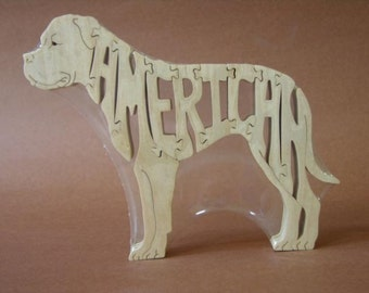 American Bulldog  Wooden Dog Toy Puzzle Hand Cut with Scroll Saw