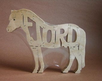 NEW Horse Norwegian Fjord Wood Puzzle Toy Hand  Cut with Scroll Saw