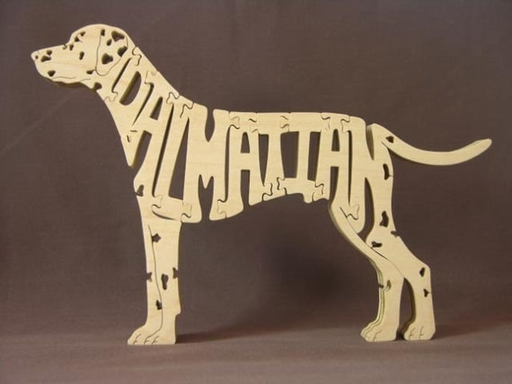 Dalmatian Dog Puzzle Wooden Toy Hand Cut with Scroll Saw