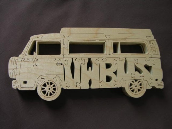 vintage vw bus volkswagen van puzzle wooden toy hand cut with. Black Bedroom Furniture Sets. Home Design Ideas