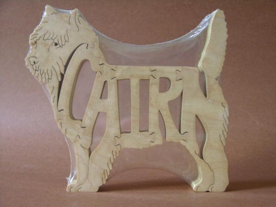 Cairn Terrier Wooden Dog Toy Puzzle Hand Cut with Scroll Saw