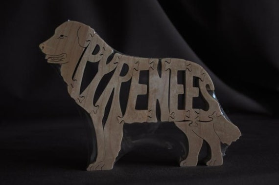 Pyrenees Dog Puzzle Wooden Toy Hand Cut with Scroll Saw