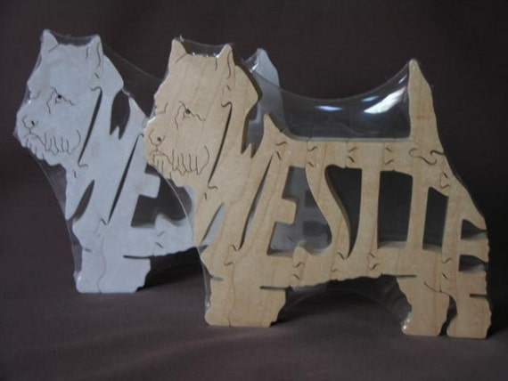 West Highland Terrier  Westie Dog Animal Puzzle Wooden Toy Hand  Cut with Scroll Saw