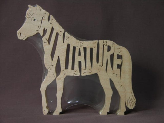 Miniature Horse Pony Puzzle Wooden Toy Hand  Cut with Scroll Saw