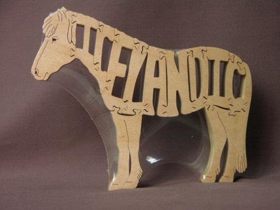 Icelandic Horse Puzzle Wooden Toy Hand Cut with Scroll Saw