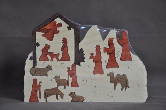 Nativity Scene Puzzle  Wooden Hand Cut Christmas Decoration