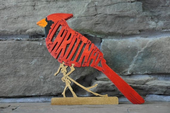 Cardinal Song Bird Puzzle Wooden Toy Hand Cut With Scroll Saw