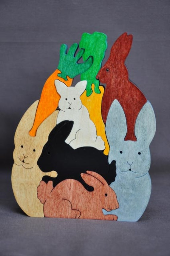 Pile of Bunny Rabbits Easter Animal Puzzle Wooden Toy Hand