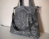 Convertible Handbag in Grey Stockholm Fabric