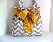 Reserved for Emma Dobbs Large Bow Handbag Made of Chevron  Fabric