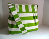 Handbag Made of  Lime Green  and White Stripe  Fabric
