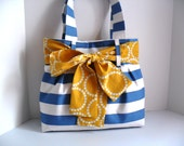 Medium Handbag Made Medium Blue and White Stripe  Fabric with Yellow Sash