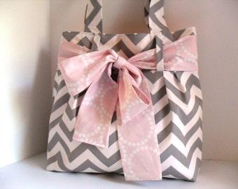 Diaper Bag - Pink Bow - Chevron Diaper Bag - Bow Diaper Bag - Tote Bag