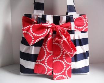 Stripe Diaper Bag - Bow Bag - Diaper Bag - Tote Bag - Bow Diaper Bag - Nautical Diaper Bag - Project Bag - Blue Stripe Diaper Bag