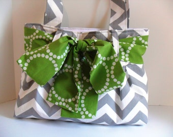 Small Diaper Bag Made of Chevron  Fabric and Green Bow / Bow Bag