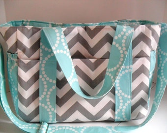 Extra Large Diaper bag - Aqua Interior - Messenger Bag - Chevron Diaper Bag