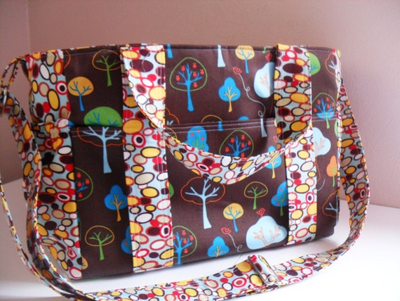 Large Diaper Bag in Trees in Brown Background / Ready to Ship
