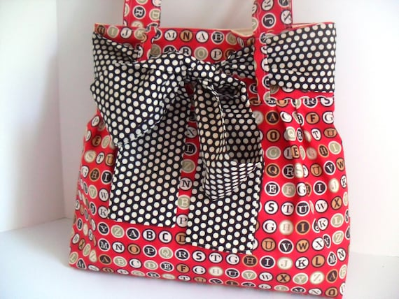 Large Bow Handbag Made of Moda Typewriter Keys  Fabric