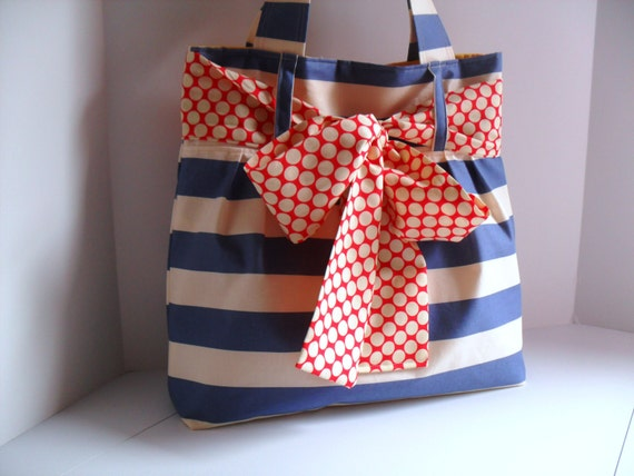 Large Bow Handbag Made in Blue and White Stripe Fabric