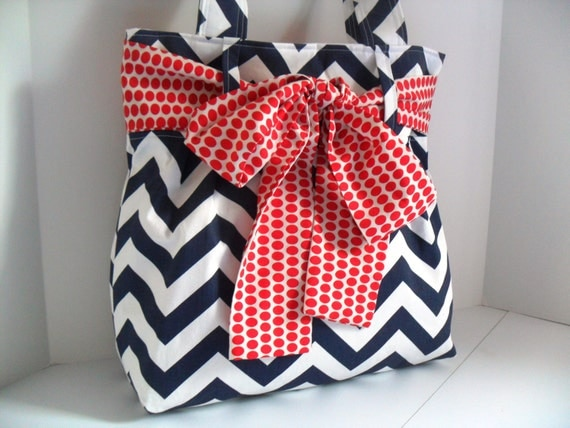 Handbag Made of Blue and White Chevron  Fabric and Large Red  Bow