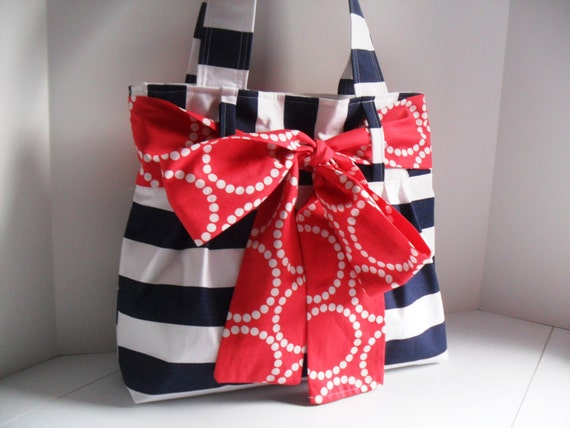 Medium Handbag Made of Navy Blue and White Stripe  Fabric with Red Bow