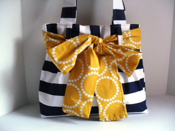 Medium Handbag Made of Navy Blue and White Stripe  Fabric with Yellow  Bow
