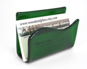 Business Card Holder - Fused Glass - Emerald Green
