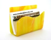 Business Card Holder / Fused Glass / Art Glass / Stained Glass - Sunshine Yellow