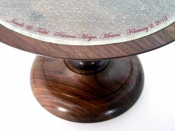 Wedding Cake Stand / Solid Wood Pedestal Cake Stand with Glass Plate Insert / Personalized / Hand Turned / Fused Glass / Wooden