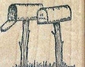 rural mailboxes on posts  rubber stamp