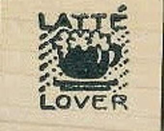 Latte lover rubber stamp