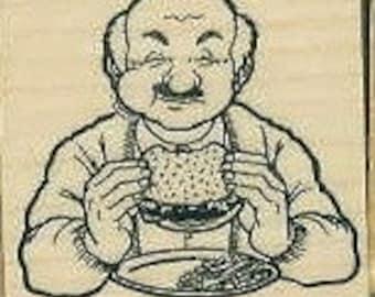 Man eating hamburger rubber stamp