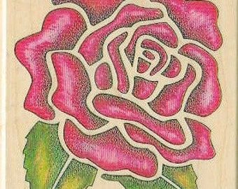 Stencil rose rubber stamp