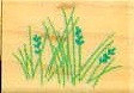 wild grass with seeds rubber stamp