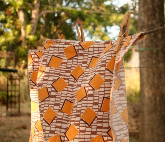Vintage Feed Sack in a Brown and Goldenrod Squares Print