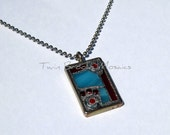 Turquoise and Red Mosaic Pendant