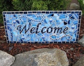 Blue Mosaic Welcome Sign